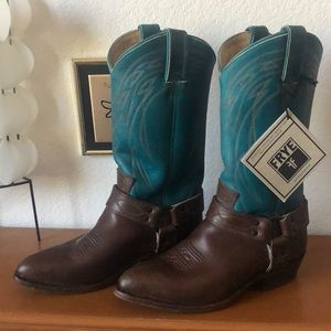 Frye Billy Harness Boot Turquoise 8.5 M